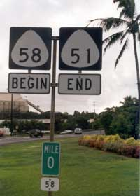 '58 Begin' and '51 End' route markers, with zero milepost for route 58