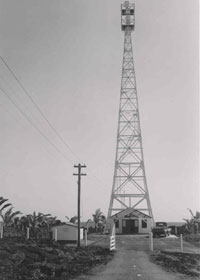Cape Kumukahi lighthouse, with part of then-paved access road, in 1955