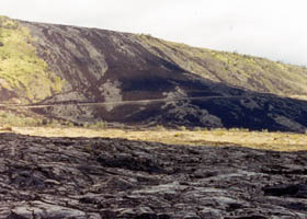 Chain of Craters Road, through recent lava flow
