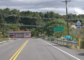 T-intersection of Ke-ala-o-Keawe Road (state route 160) with Mamalahoa Highway (part of state route 11)