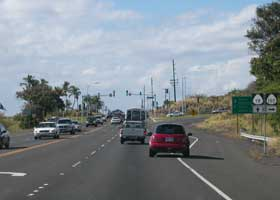 Northbound Queen Kaahumanu Highway (at this point state route 11), at intersection with Palani Road (state route 190) in Kailua-Kona; highway continues as state route 19