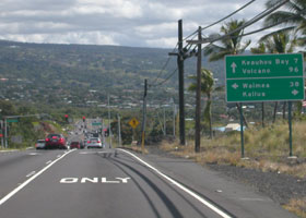 Southbound Queen Kaahumanu Highway (at this point state route 19), at intersection with Palani Road (state route 190) in Kailua-Kona; highway continues as state route 11