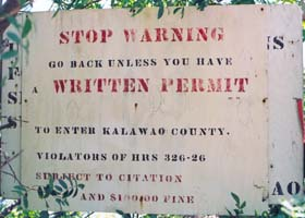 Closeup of sign at mule trail entrance to Kalawao County