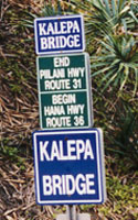Enlarged sign:  End Piilani Hwy Route 31 | Begin Hana Hwy Route 36