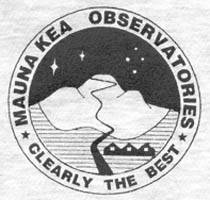 T-shirt logo: 'Mauna Kea Observatories | Clearly The Best' slogan, with outline of snow-covered mountain and road ascending to the summit