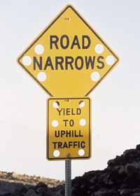 Warning signs: 'Road Narrows' and 'Yield to Uphill Traffic'; each sign with six holes