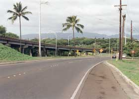 Merge of westbound Moanalua Freeway into northbound Kamehameha Highway