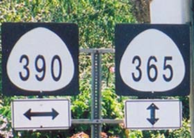 Route shields for county routes 390 and 365