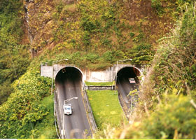 Pali Tunnels east portal, from Nuuanu Pali overlook