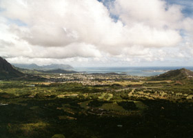 Kaneohe Bay, from Nuuanu Pali overlook