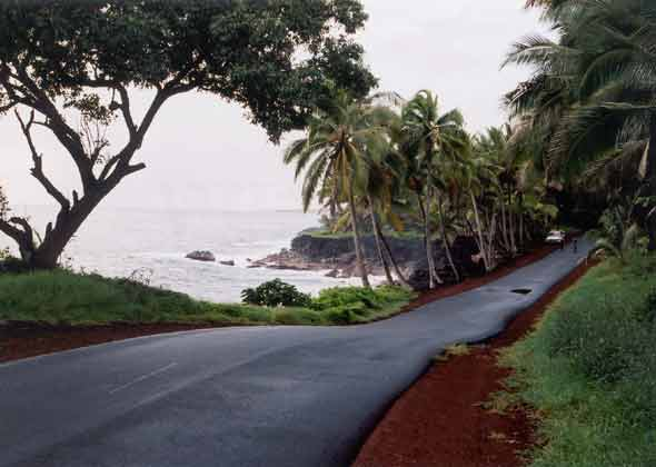 Red Road next to the ocean, narrow but new pavement, soon after it rained