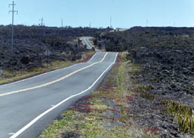 Ala Mauna Saddle Road entering lava fields