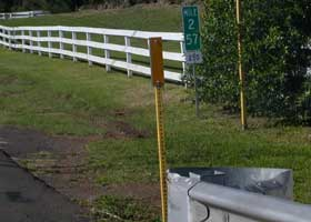 Terminal milepost 2.57 at south end of Kohala Mountain Road (state route 250)