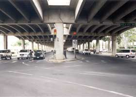 Waialae Avenue under H-1 viaduct, at intersection with Kilauea Avenue